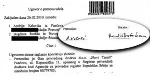 Ugovor o transferu firme između Andrije Krlovića i Bogdana Rodića