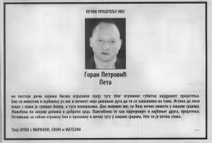 Čitulja koju je Jotić dao iz zatvora