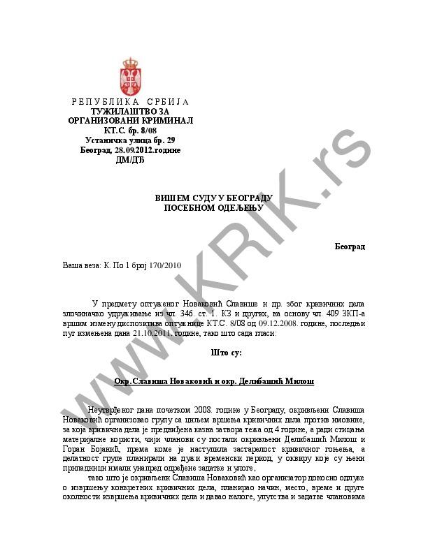 Optužnica Miloš Delibašić, pljačka zlatare (preciziranje)