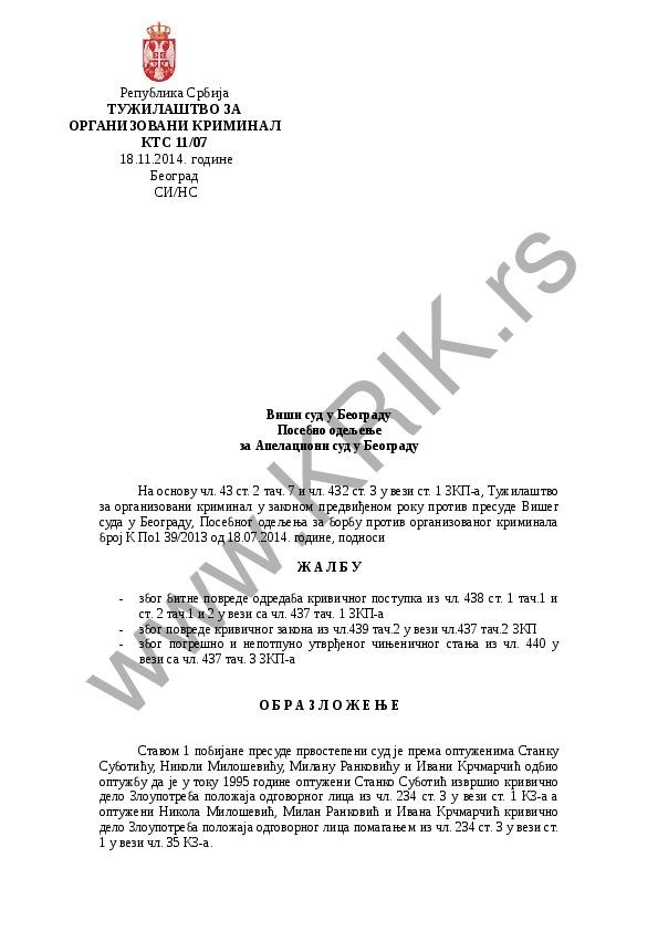 Žalba Tužilaštva za organizovani kriminal (slučaj Stanko Subotić)