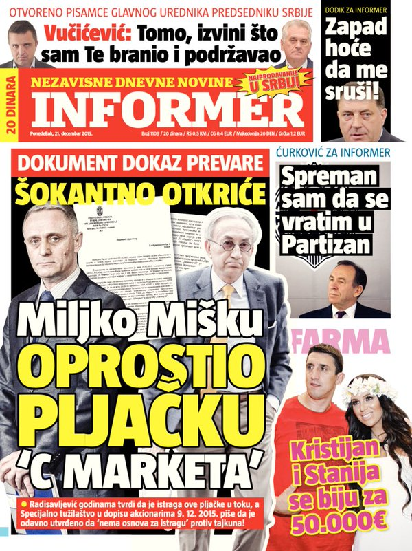 """Naslovna strana """"Informera"""" na dan izbora tužilaca"""