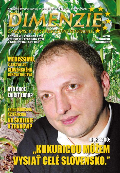 Igor Sabo na naslovnici slovačkog časopisa Dimenzie, 2011