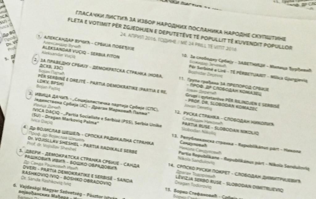 Izbori 2016 glasacki listic sa Kosova